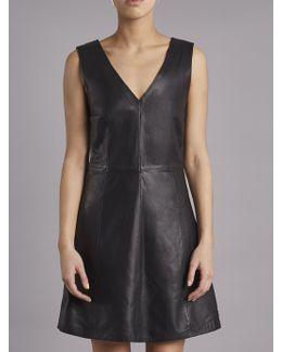 Handley Black Leather V-neck Dress