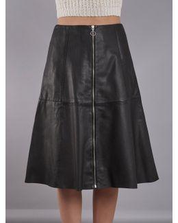Lotus Black Leather Midi Skirt