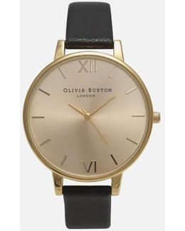 Women'S Big Dial Leather Strap Watch