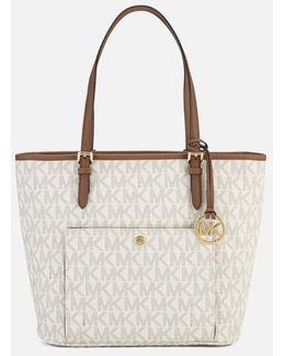 Large Top Zip Pocket Tote Bag