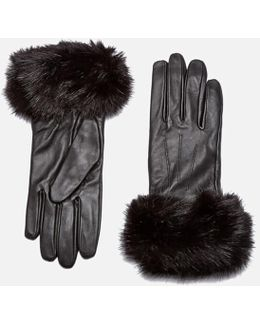 Women's Faux Fur Trimmed Leather Gloves