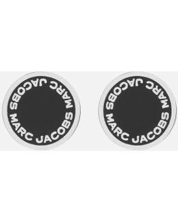 Enamel Logo Disc Stud Earrings