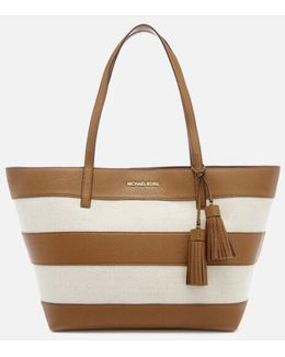 Striped Canvas Large East West Tote Bag