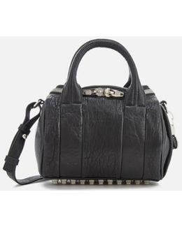 Mini Rockie Pebbled Leather Bag With Rhodium Studs
