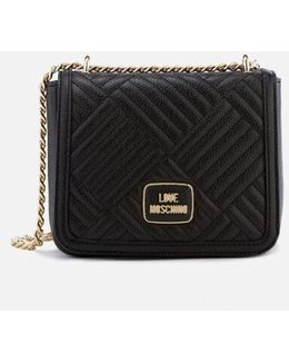 Shiny Quilted Metallic Chain Cross Body Bag