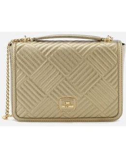 Shiny Quilted Chain Metallic Shoulder Bag