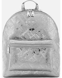 Metallic Embossed Logo Backpack