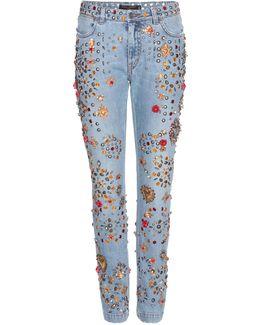 Embellished Boyfriend Low-Rise Denim Jeans