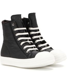 Leather And Shearling High-top Sneakers
