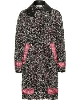 Leather-trimmed Wool-blend Bouclé Coat