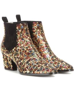Skyscraper Sequin-embellished Ankle Boots