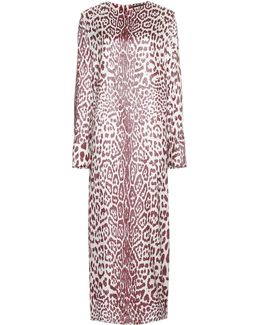 Leopard-print Silk-blend Dress