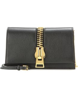 Small Zip Front Leather Shoulder Bag