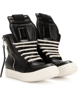 Monochrome Leather High-Top Sneakers