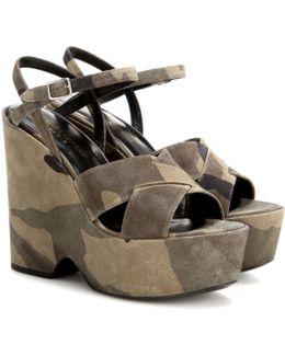 Printed Suede Wedge Sandals
