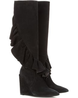Ruffled Suede Knee-high Wedge Boots