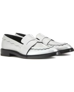 Pointed-Toe Metallic Leather Penny Loafers