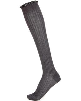 Lace-trimmed Cotton Socks