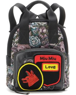 Beaded Jacquard And Leather Backpack