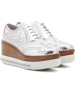 Metallic Leather Platform Oxford Shoes