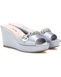 Satin Wedge Sandals