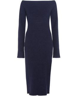 Zen Wool and Silk-Blend Off-Shoulder Dress