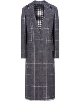 Janca Plaid Leather-trimmed Wool Coat