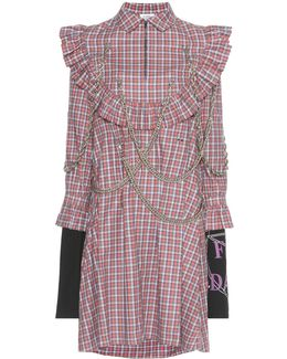 Embellished Plaid Cotton Dress