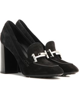 Loafer-Style Suede Pumps