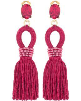 Embellished Tassel Clip-on Earrings