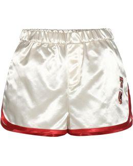 Satin Shorts With Appliqué