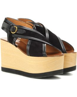 Zlova Suede And Wood Wedge Sandals