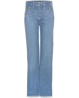 Frayed Hem Cotton Jeans