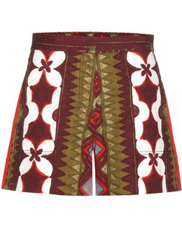 Printed Cotton And Linen Shorts