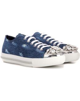 Crystal-embellished Denim Sneakers