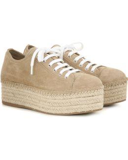 Suede Espadrille-style Platform Sneakers