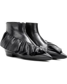 Ruffle Leather Ankle Boots