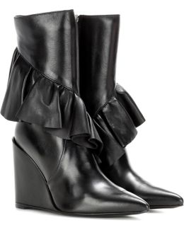 Ruffle Leather Ankle Boot