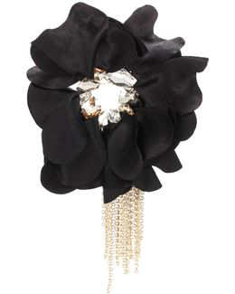 Crystal-embellished Floral Brooch