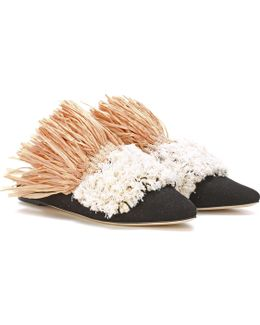 Exclusive To Mytheresa. Com – Carfalo Canvas And Raffia Slippers