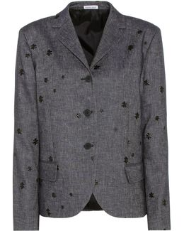 Embroidered Cotton And Linen Blazer