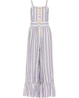 Striped Cotton-blend Jumpsuit
