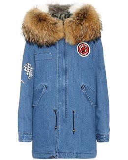 Printed Denim Fur-trimmed Coat
