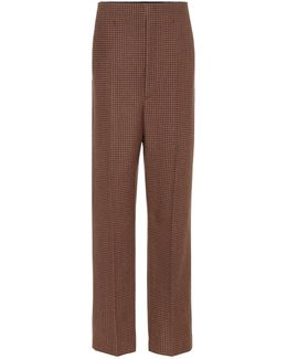 Checked Wool-blend Trousers