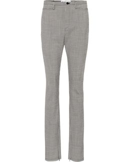 Plaid Slim-fit Wool Trousers
