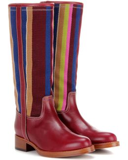 Fabric And Leather Boots