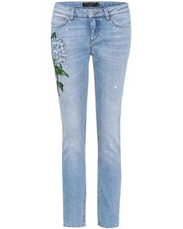 Floral-embroidered Skinny Jeans