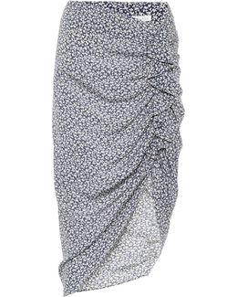 Printed Asymmetric Silk Skirt