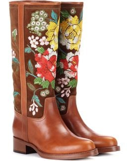 Embroidered Suede And Leather Boots