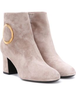 Chunky Trompette Suede Ankle Boots